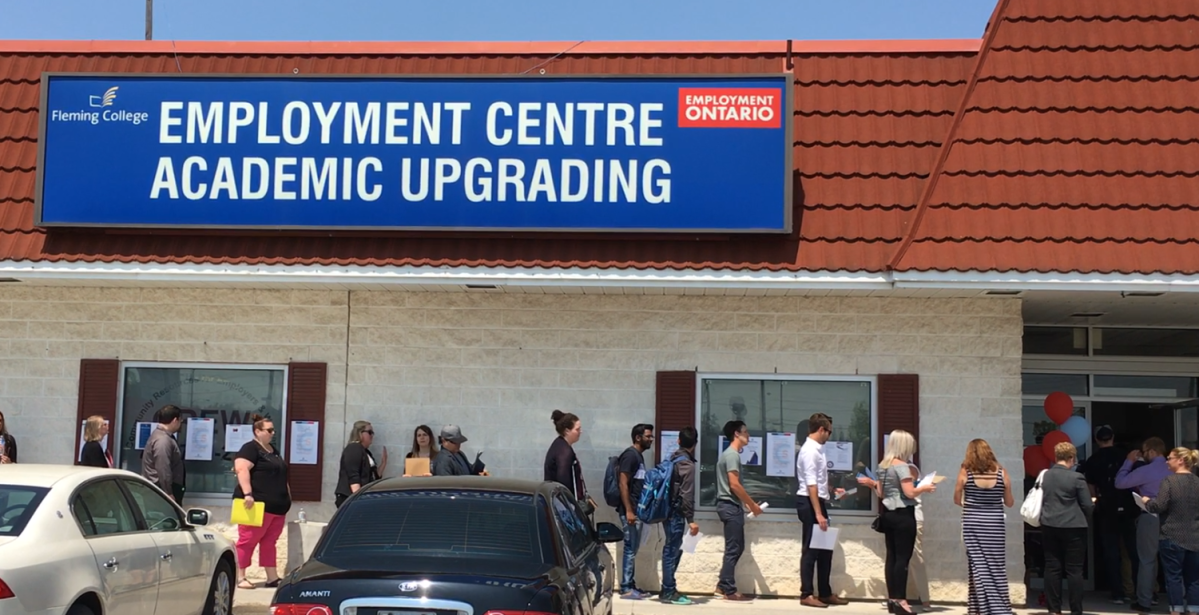 Dozens were lined up for a job fair for the Shorelines Casino Peterborough, in May.