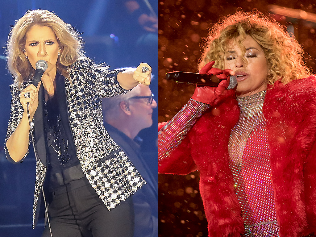Celine Dion performs in Nice, Italy in 2017 and Shania Twain performs at a 2017 New Year's Eve celebration.
