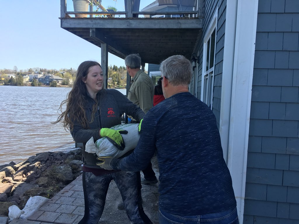 Volunteers were helping to remove sandbags in Millidgeville in Saint John over the weekend.