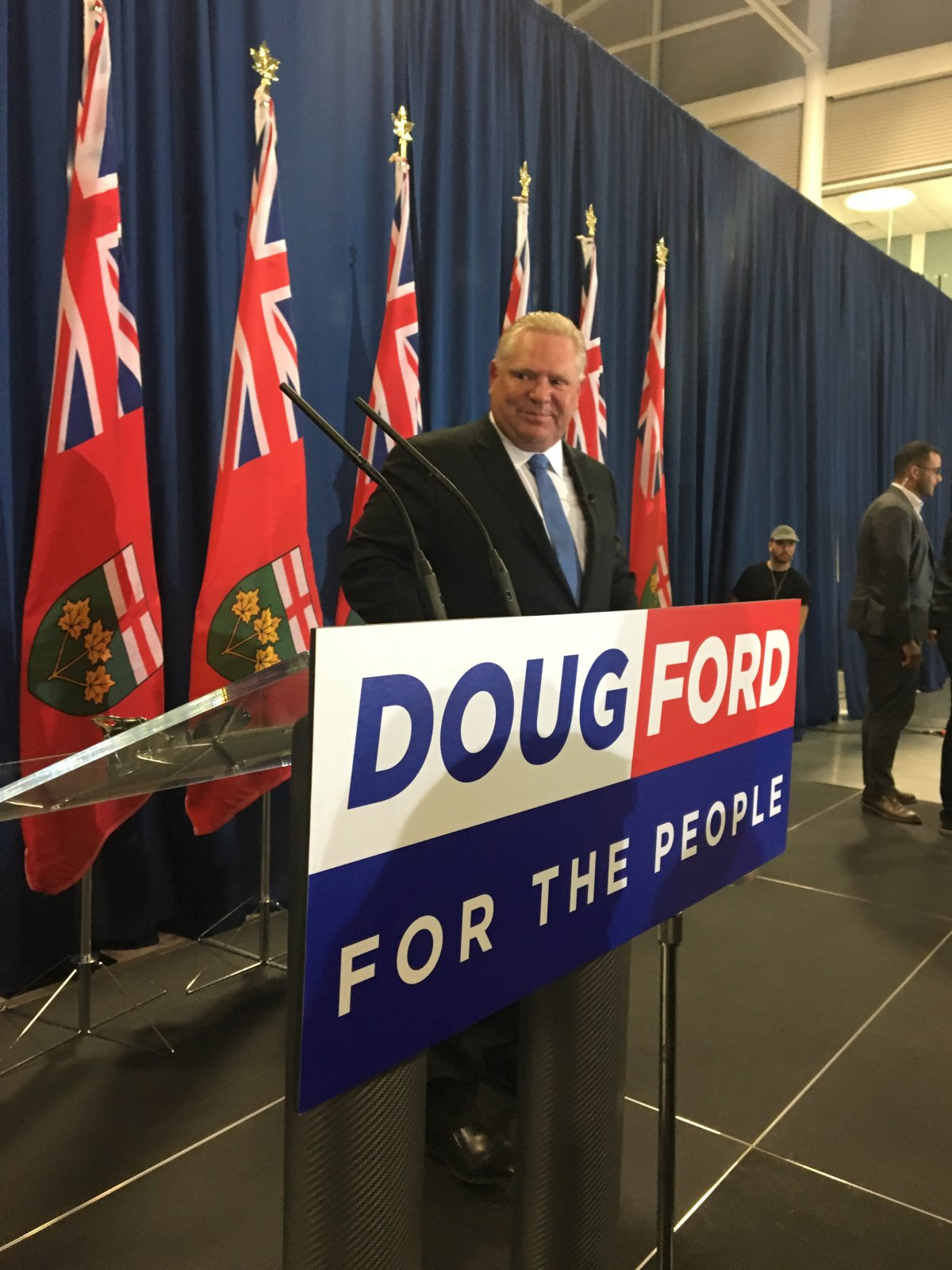 Progressive Conservative Leader Doug Ford spoke to an arena of supporters in Barrie on Friday night.