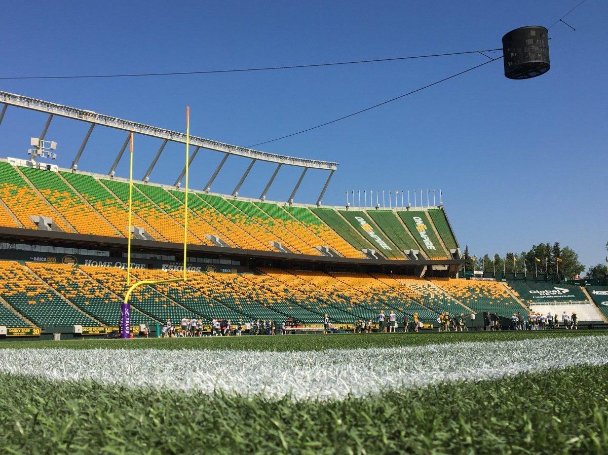 The Edmonton Eskimos football team on Day Five of training camp at Commonwealth Stadium in Edmonton, Alta. May 24, 2018.