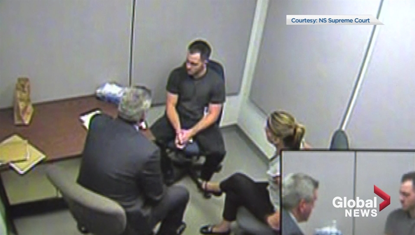 Christopher Garnier describes having his hands around Catherine Campbell's neck during a police interrogation in September 2015. Garnier is charged with second-degree murder in Campbell's death and the video of the interrogation was shown as part of the trial in December 2017.