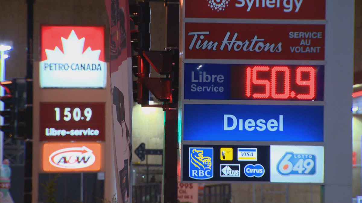 Gas prices hit the $1.50 mark in Montreal overnight Tuesday. 23 May 2018.