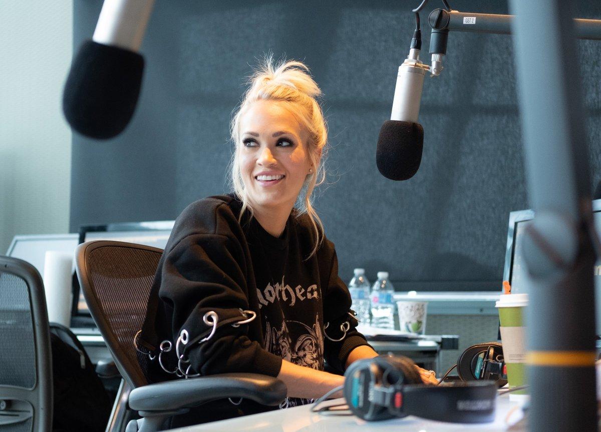 "Singer Carrie Underwood visits ""The Highway"" at SiriusXM Nashville Studios at Bridgestone Arena on April 19, 2018 in Nashville, Tennessee."