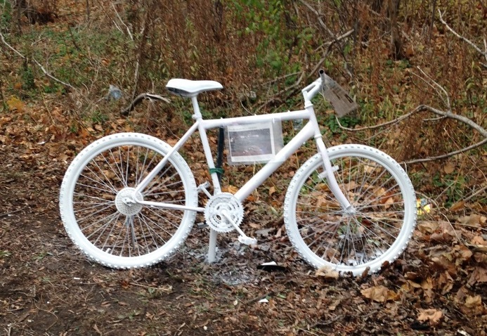 """A """"ghost bike"""" was placed along the Claremont Access in tribute of Jay Keddy, following his death in December 2015."""