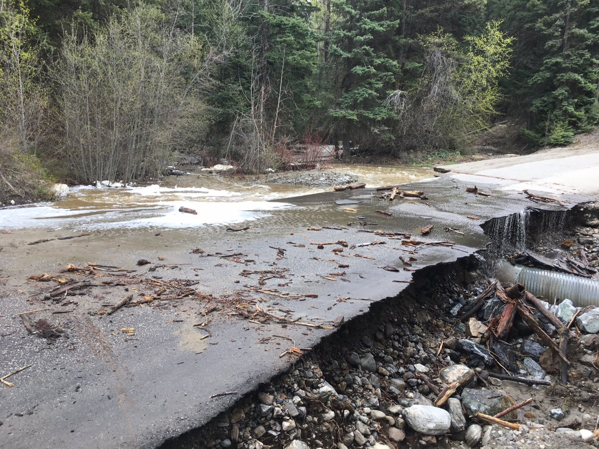 Goudie Road in Joe Rich was closed on Thursday due to a washout.