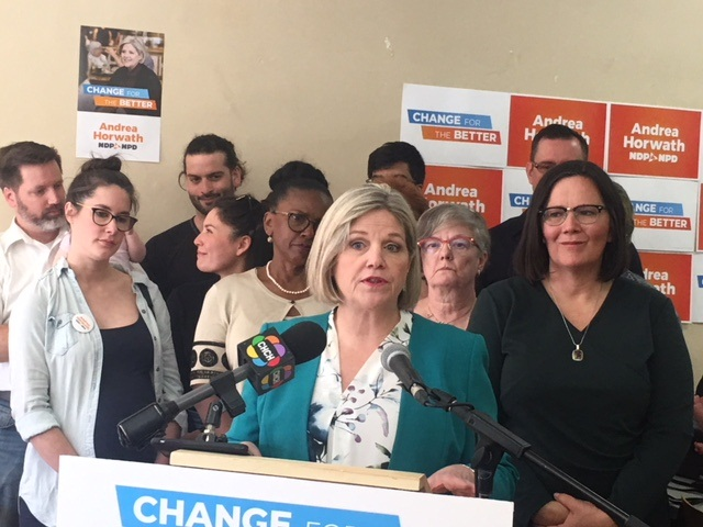 Andrea Horwath discussed what an NDP government would mean for Hamilton during a stop at the headquarters of Hamilton-West Ancaster Dundas  candidate Sandy Shaw.