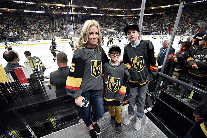 Christina Haugan pictured with her two sons Carson and Jackson at Game 3 of the Western Conference final between the Vegas Golden Knights and Winnipeg Jets in Las Vegas on May 16, 2018.
