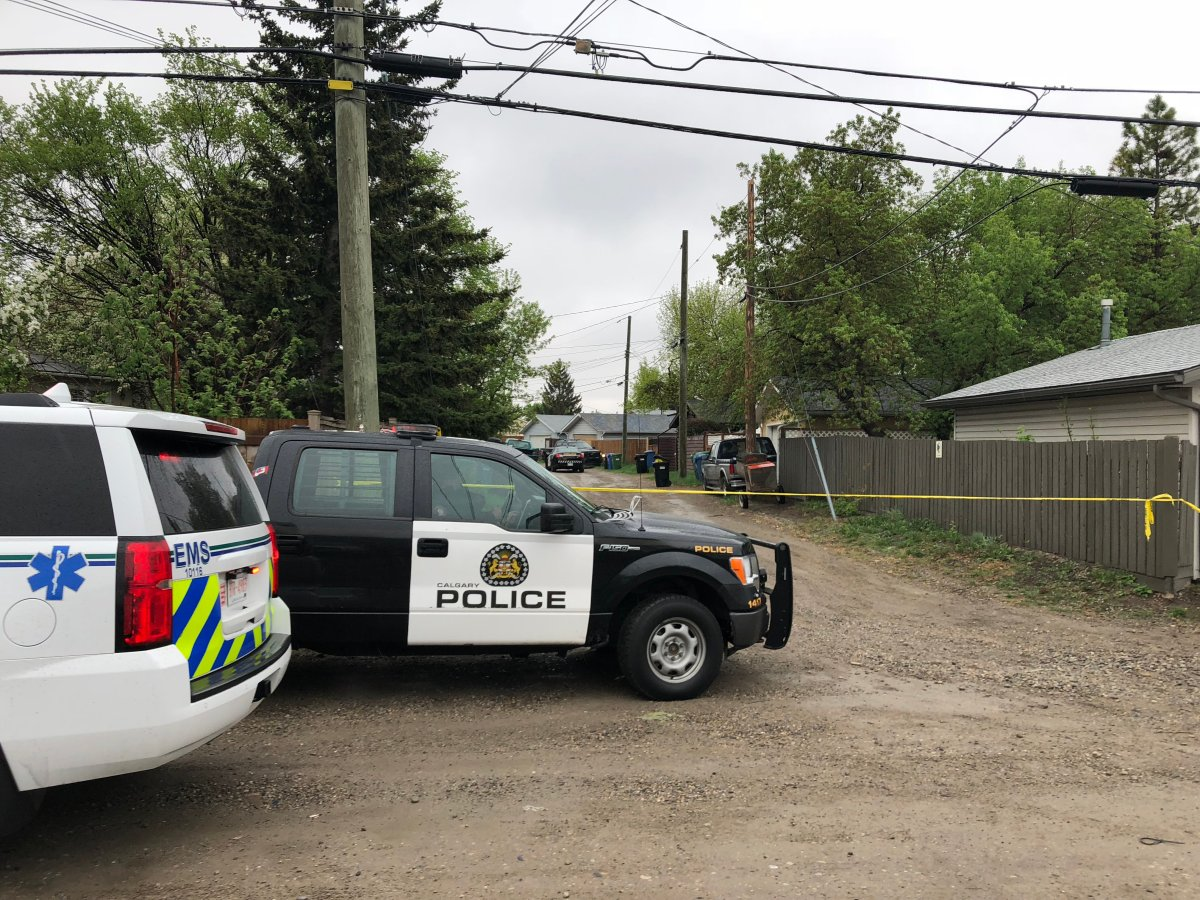 Calgary police on the scene of a shooting in southeast Calgary on Thursday, May 17.