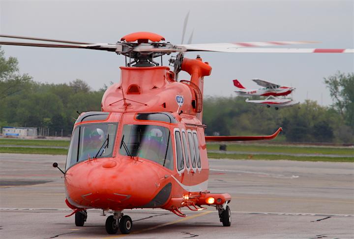 An Ornge air ambulance prepares for takeoff.