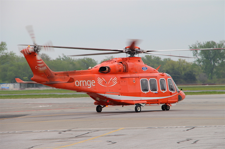 An Ornge air ambulance crew prepares for take off at Billy Bishop Toronto City Airport.