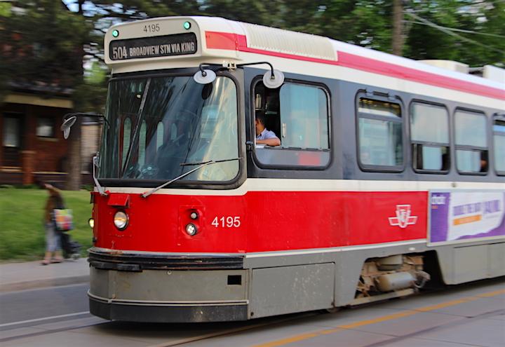 A TTC streetcar on Broadview Avenue.