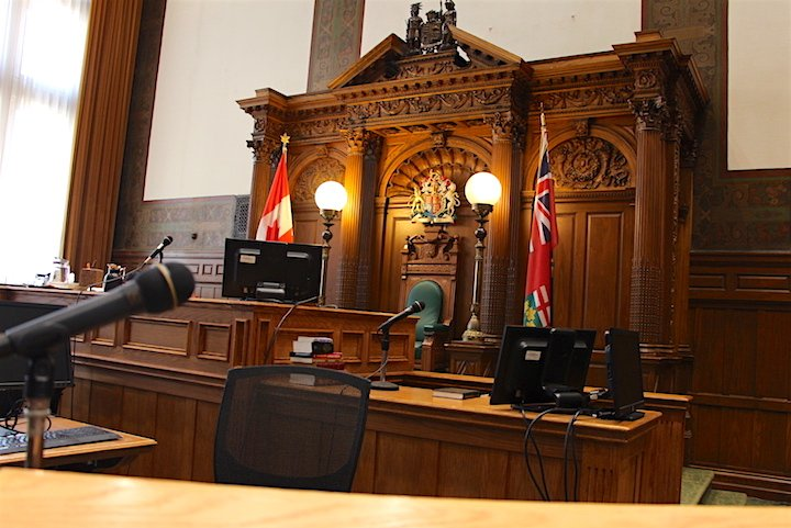 An interior of a courtroom at Old City Hall court in Toronto.
