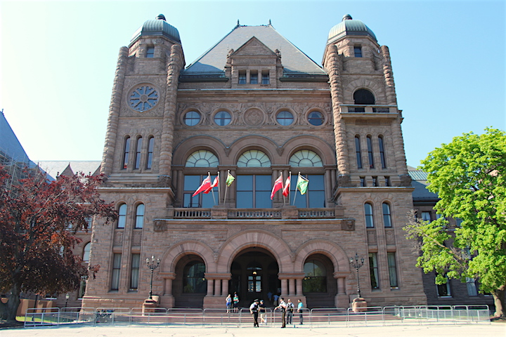The front entrance of Ontario's Legislative Building at Queen's Park.
