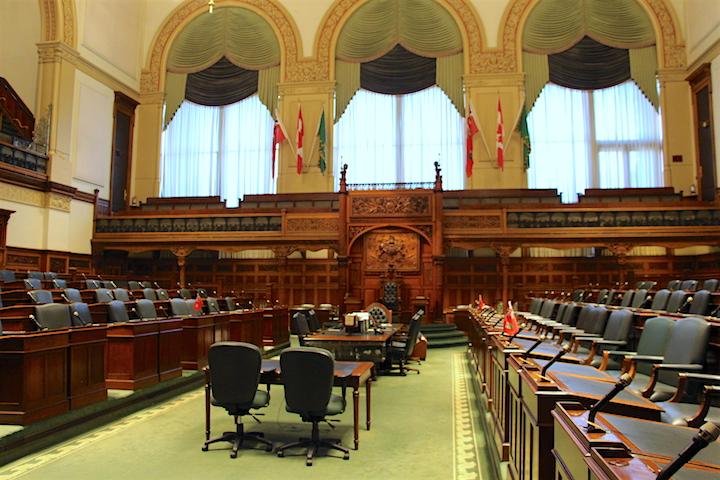 Inside the Ontario legislature at Queen's Park.