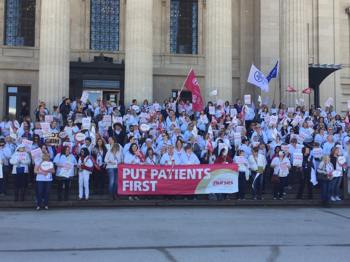 Hundreds of Manitoba nurses gathered on the steps of the Legislature May 2, 2018.