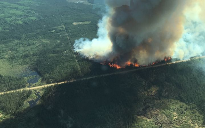 An aerial photo of a wildfire burning near Janvier, Alta. Taken at about 4:30 p.m. on May 23.
