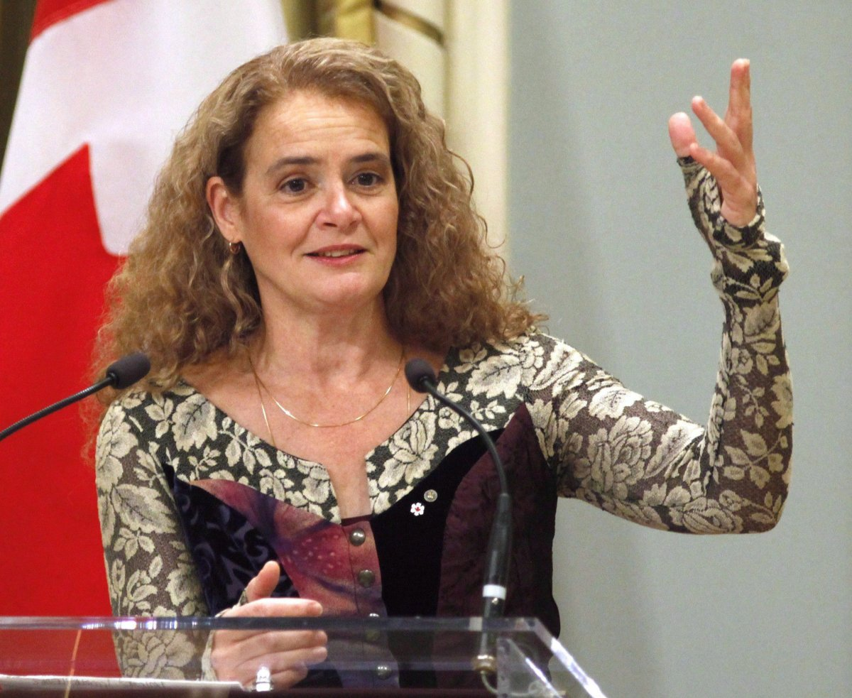 Governor General Julie Payette speaks at the Governor General's Literary Awards ceremony in Ottawa on Wednesday, November 29, 2017.