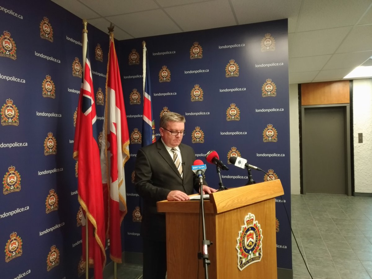 Sgt. Dave Poustie with London police provides an update during a news conference on Tuesday.