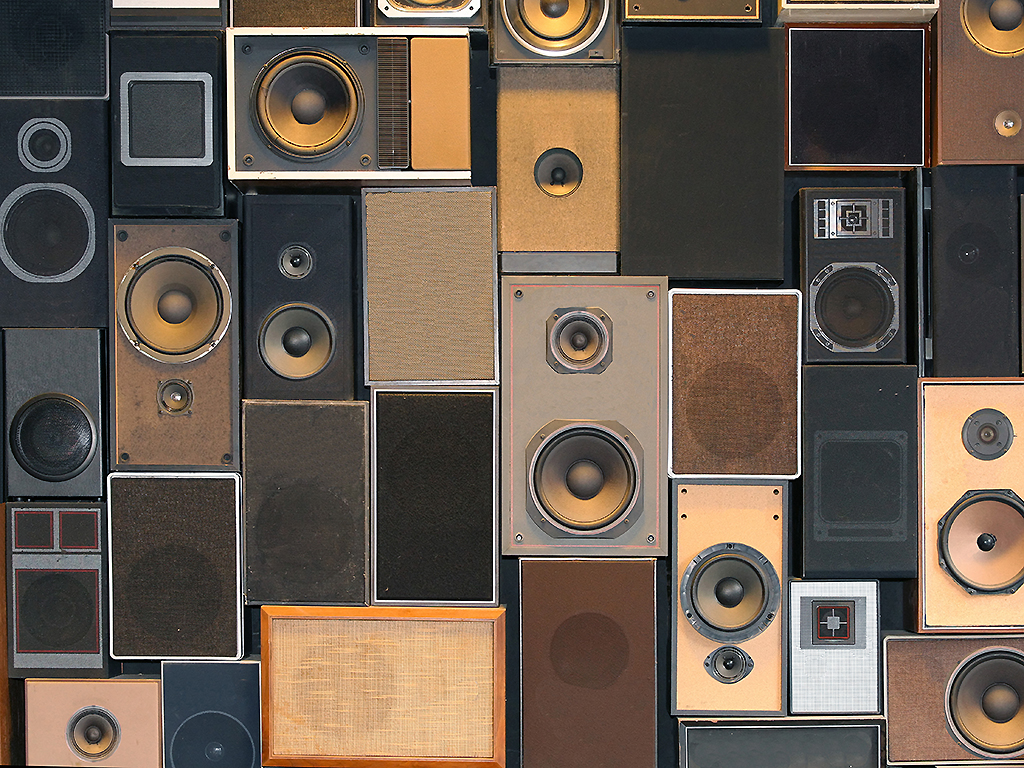 A big collection of music speakers.