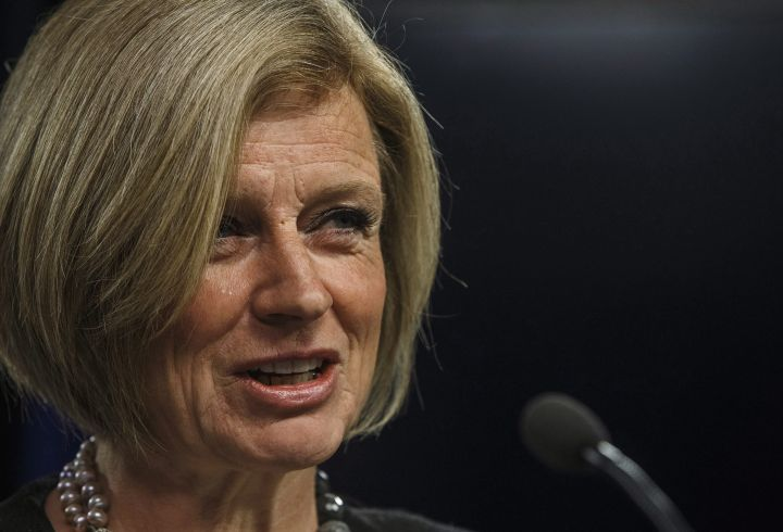 Alberta Premier Rachel Notley unveils an ad they will be running in B.C. about the pipeline expansion in Edmonton, Alta., on Thursday, May 10, 2018.