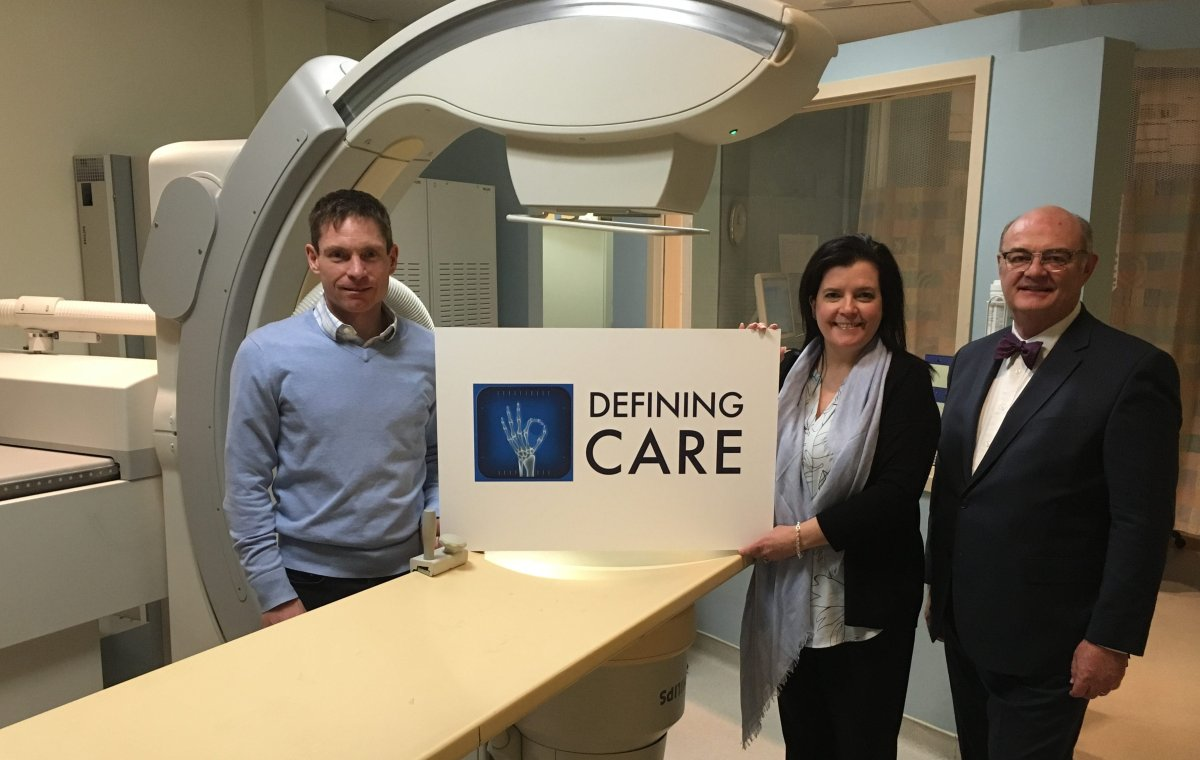 Ross Memorial Hospital Foundation's spring appeal will seek support for new X-ray equipment at the Lindsay hospital. Taking part in appeal launch, are Dr. Paul Wilson, Erin Coons and Brian Kelsey.