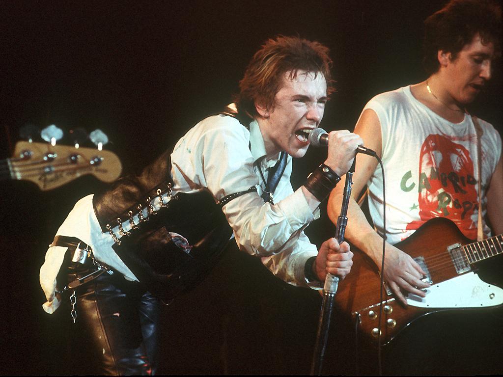 Johnny Rotten and guitarist Steve Jones of the Sex Pistols perform their last concert on Jan. 14, 1978 in San Francisco, Calif.