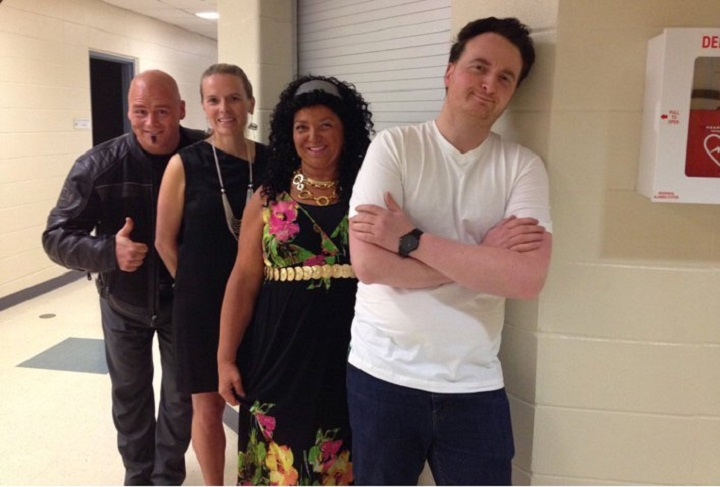 Four teachers from the Strathcona Christian Academy dressed up as Howie Mandel, Heidi Klum, Mel B and Simon Cowell to judge a talent competition, according to a tweet from the school's Twitter account.