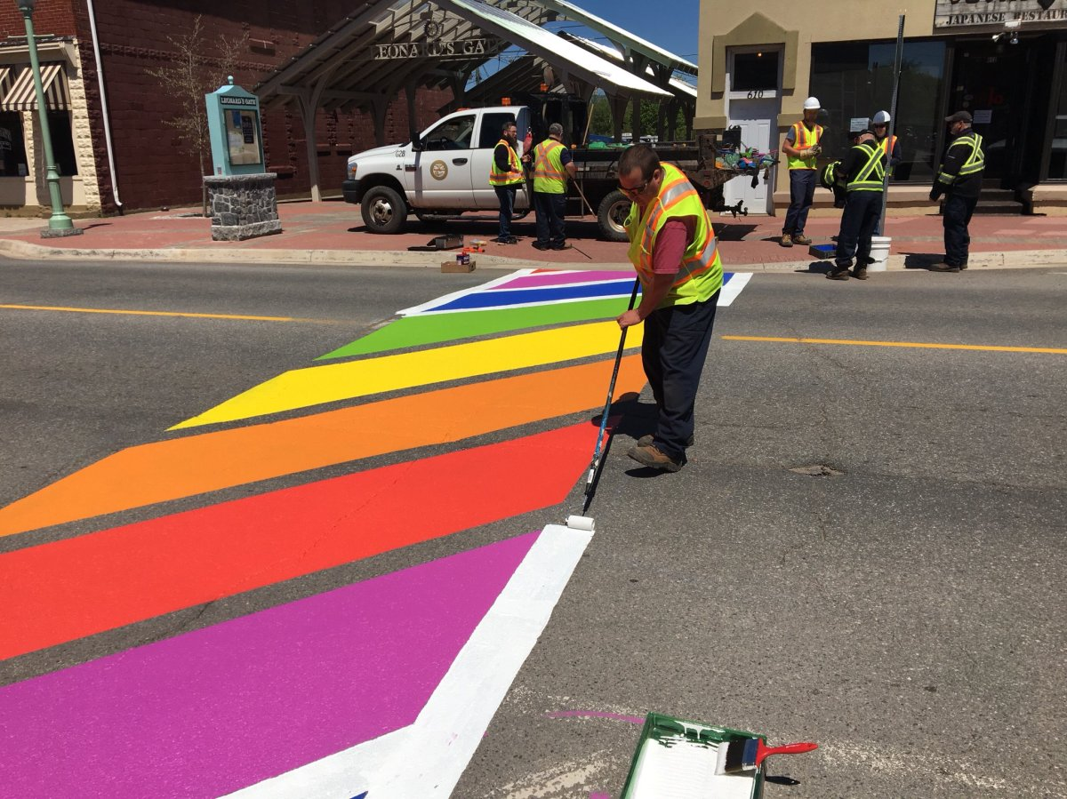 A fresh coat of paint seen on a rainbow crosswalk in the town of Sussex, N.B.