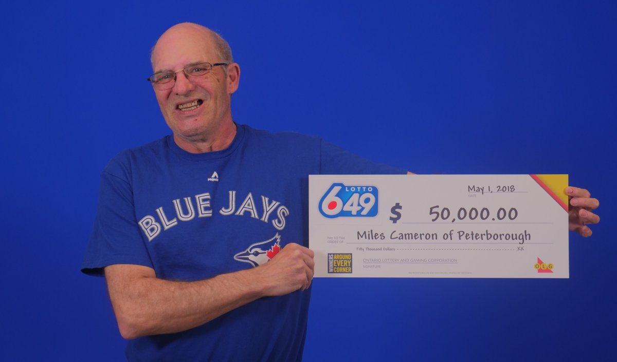 Miles Cameron of Peterborough won $50,000 in the Lotto 6/49 draw on April 28.