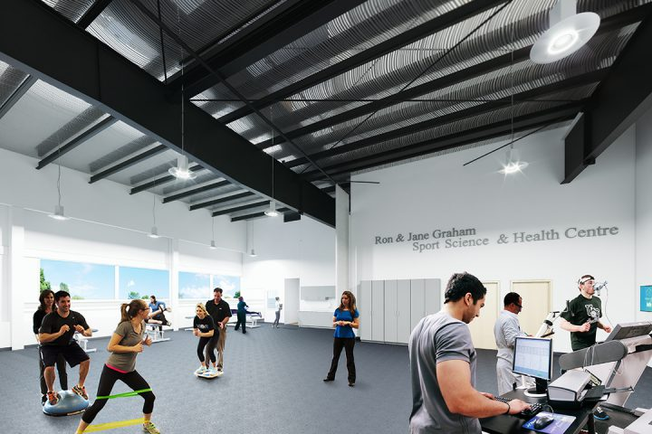 An artist's rendering of one of the spaces that will be featured in the Ron and Jane Graham Sport Science and Health Centre.