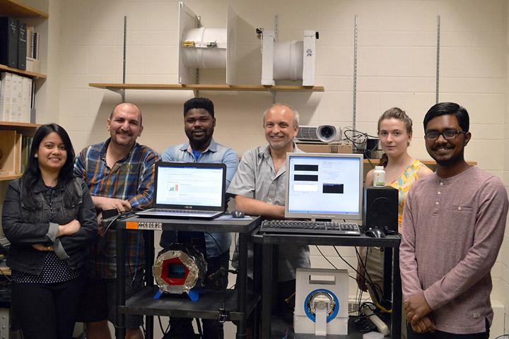 PhD student Pallavi Bohidar, post-doctoral fellow Abbas AlZubaidi, PhD student Hammed Ejalonibu, professor Gordon Sarty, and undergraduate students Sierra Francis, Darshan Patel.