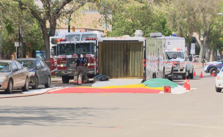 Saskatoon Fire Department officials said the unknown powdery substance – later found to be sugar - was on the ground outside city hall.