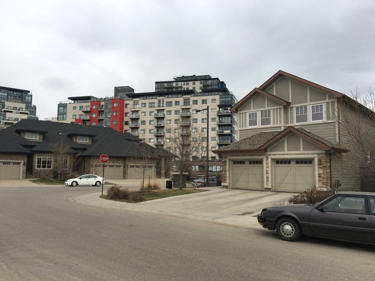 Single family homes and high-density complexes exist side-by-side in the southwest Edmonton communities of Ambleside and Windermere. May 3, 2018.