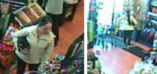 Surveillance image shows a woman holding a dog Barrie police believe could be Lincoln.