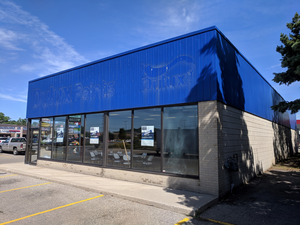 In early April, Ontario announced that this former paint store in Guelph would become a legal cannabis store. But little progress has been seen since then.