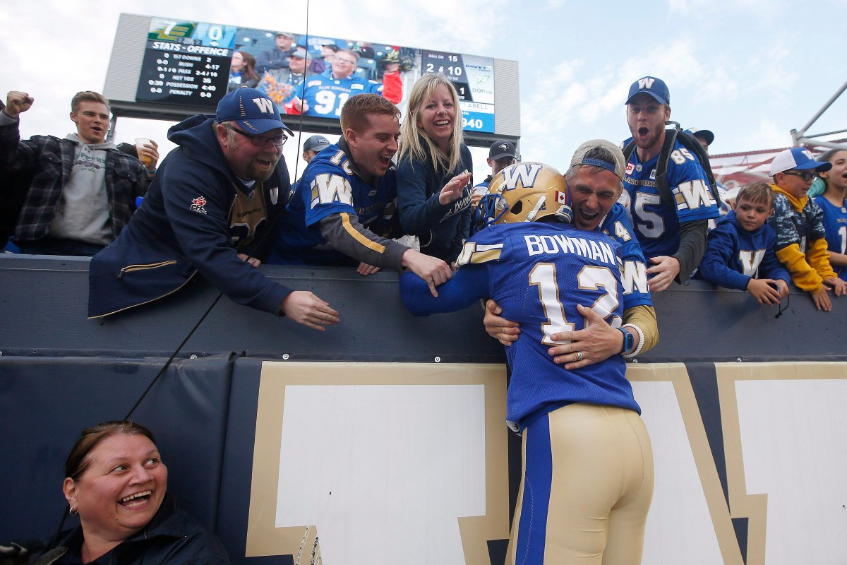 Winnipeg Blue Bombers' Adarius Bowman (12) celebrates his touchdown with fans during the first half of pre-season CFL action against the Edmonton Eskimos in Winnipeg Friday, June 1, 2018.