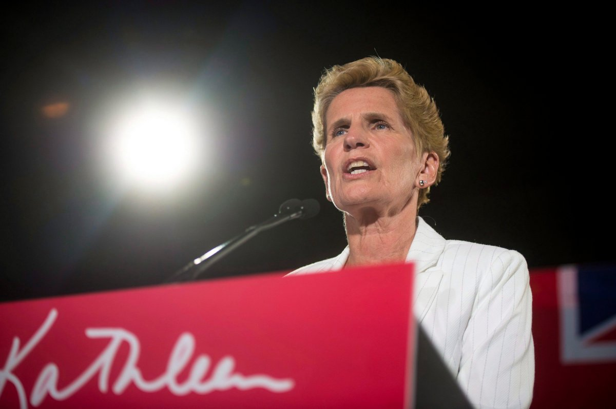 Former Ontario Premier Kathleen Wynne announces to supporters that she is stepping away from her Liberal seat during her election night party at York Mills Gallery on Thursday, June 7, 2018.