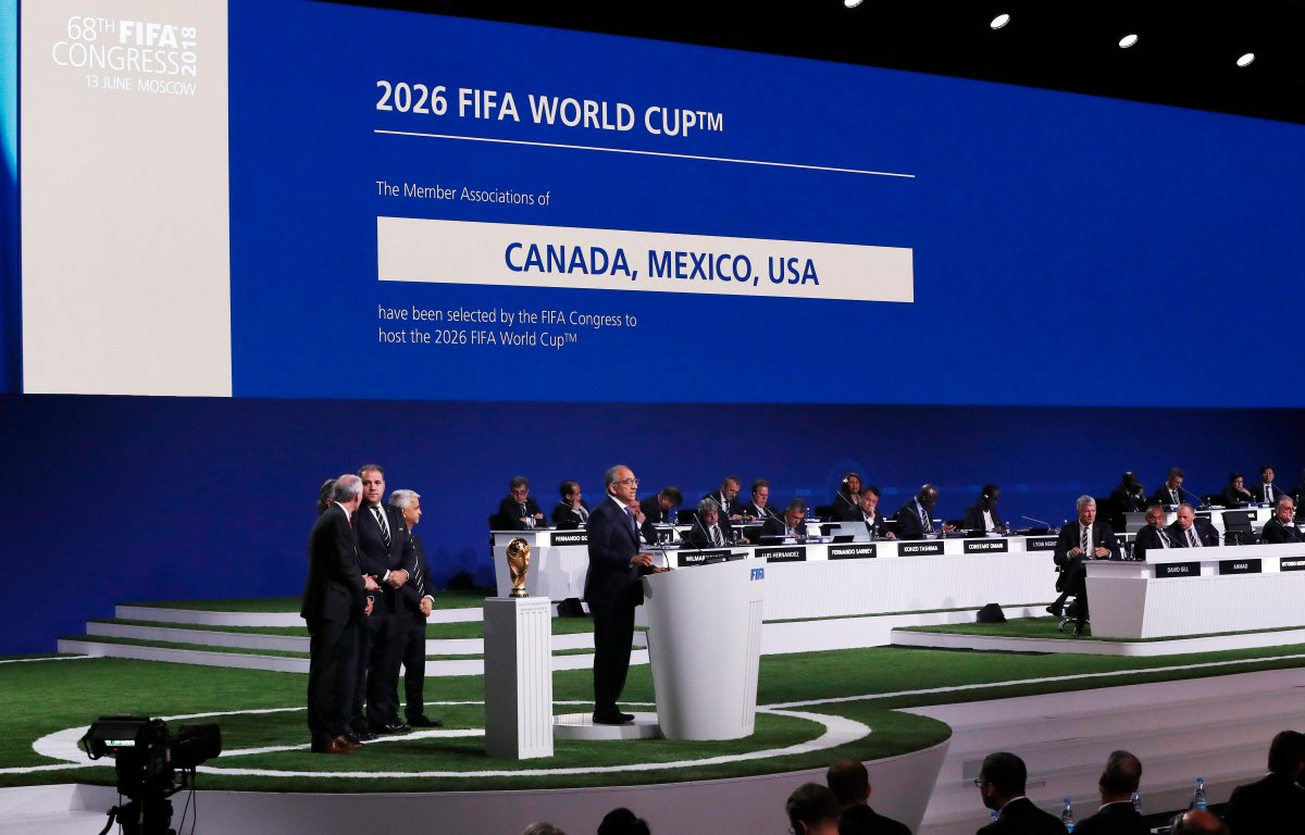Carlos Cordeiro, co-chairman of the Canada–Mexico–United States 2026 FIFA World Cup bid and president of the United States Soccer Federation speaks after the bid won the vote to host the 2026 World Cup at the 68th FIFA Congress in Moscow, Russia.