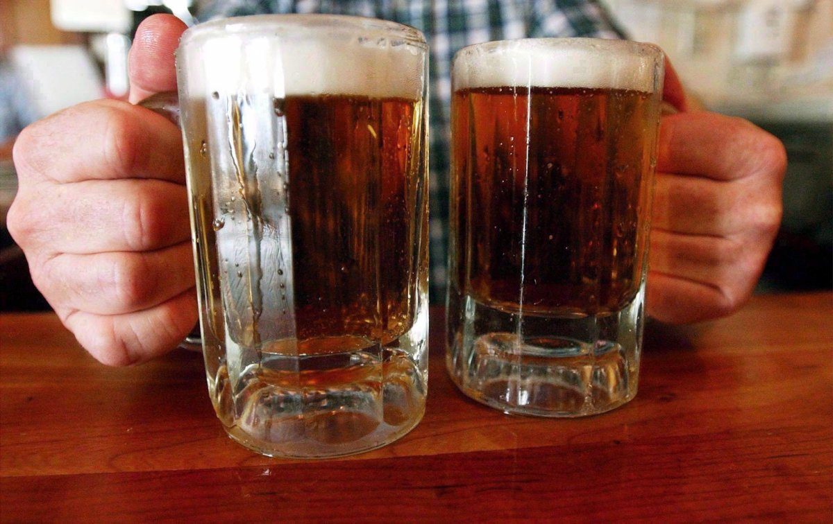 A file photo of two mugs of beer.