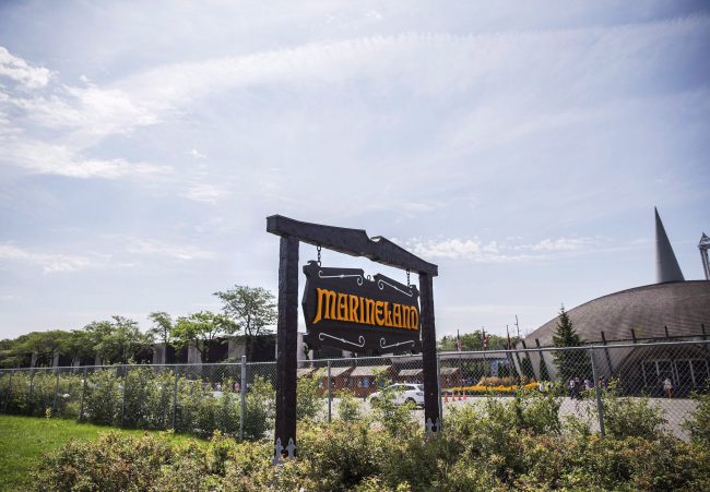 A sign for Marineland is shown in Niagara Falls, Ont., Aug. 14, 2017.