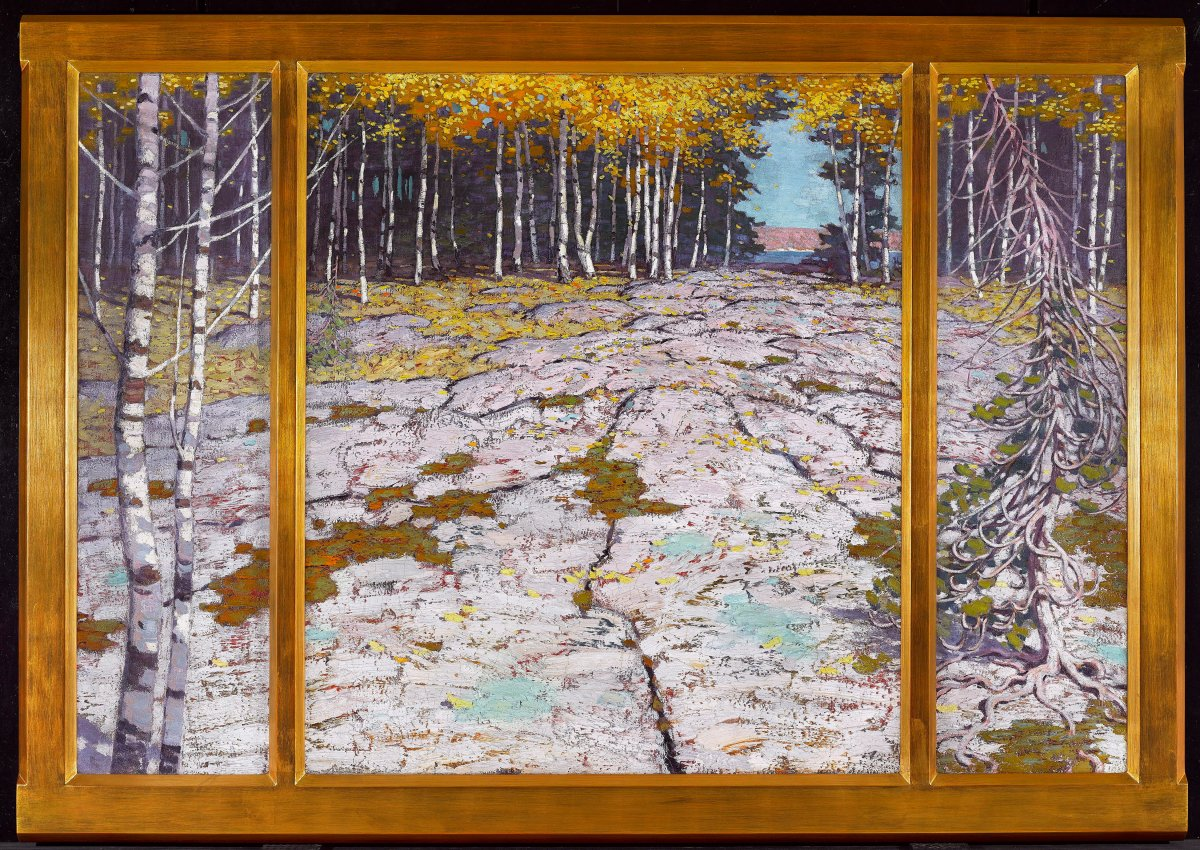 """""""The Pines"""" by Robert Houle is shown in this undated handout photo. The Art Gallery of Ontario is set to reopen the J. S. McLean Centre for Indigenous & Canadian Art on Sunday after a months-long overhaul that curators say signals a creative cultural shift for the Toronto institution."""
