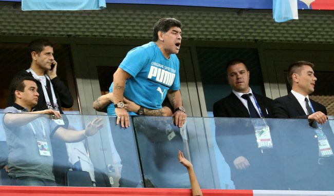 Diego Maradona reacts during FIFA World Cup action between Argentina and Nigeria in the Saint Petersburg Stadium in Saint Petersburg, Russia, June 26, 2018.