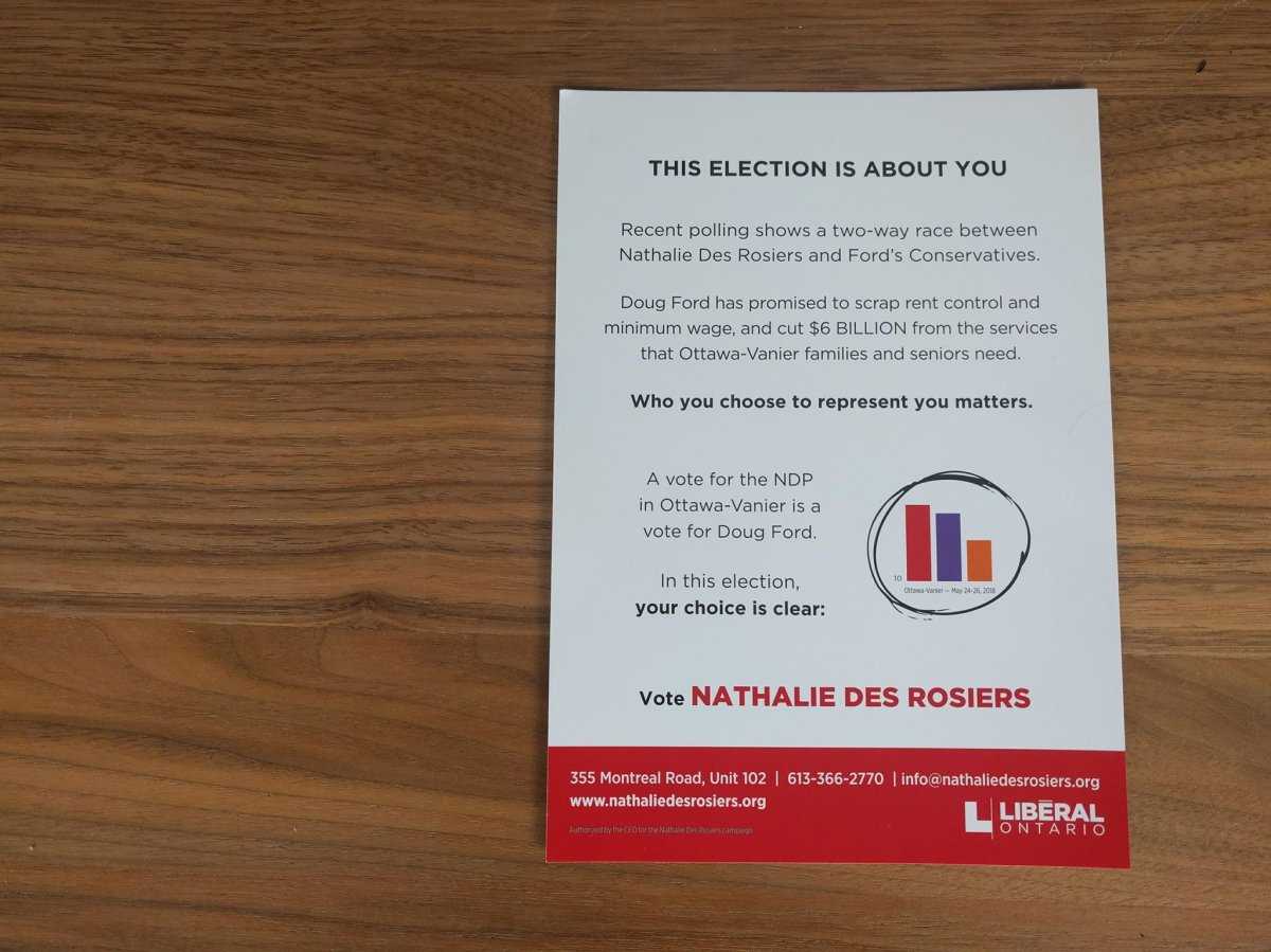 Nathalie Des Rosiers, the Liberal incumbent in Ottawa-Vanier, suggested to voters in a recently-distributed flyer that casting their ballots for the NDP in the Ontario election would be the same as a vote for PC Leader Doug Ford.
