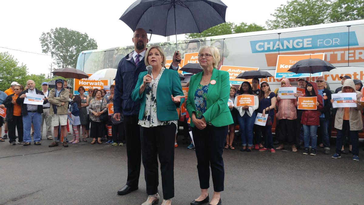 London North Centre NDP candidate Terence Kernaghan holds an umbrella over Ontario NDP Leader Andrea Horwath and London West candidate Peggy Sattler (right).