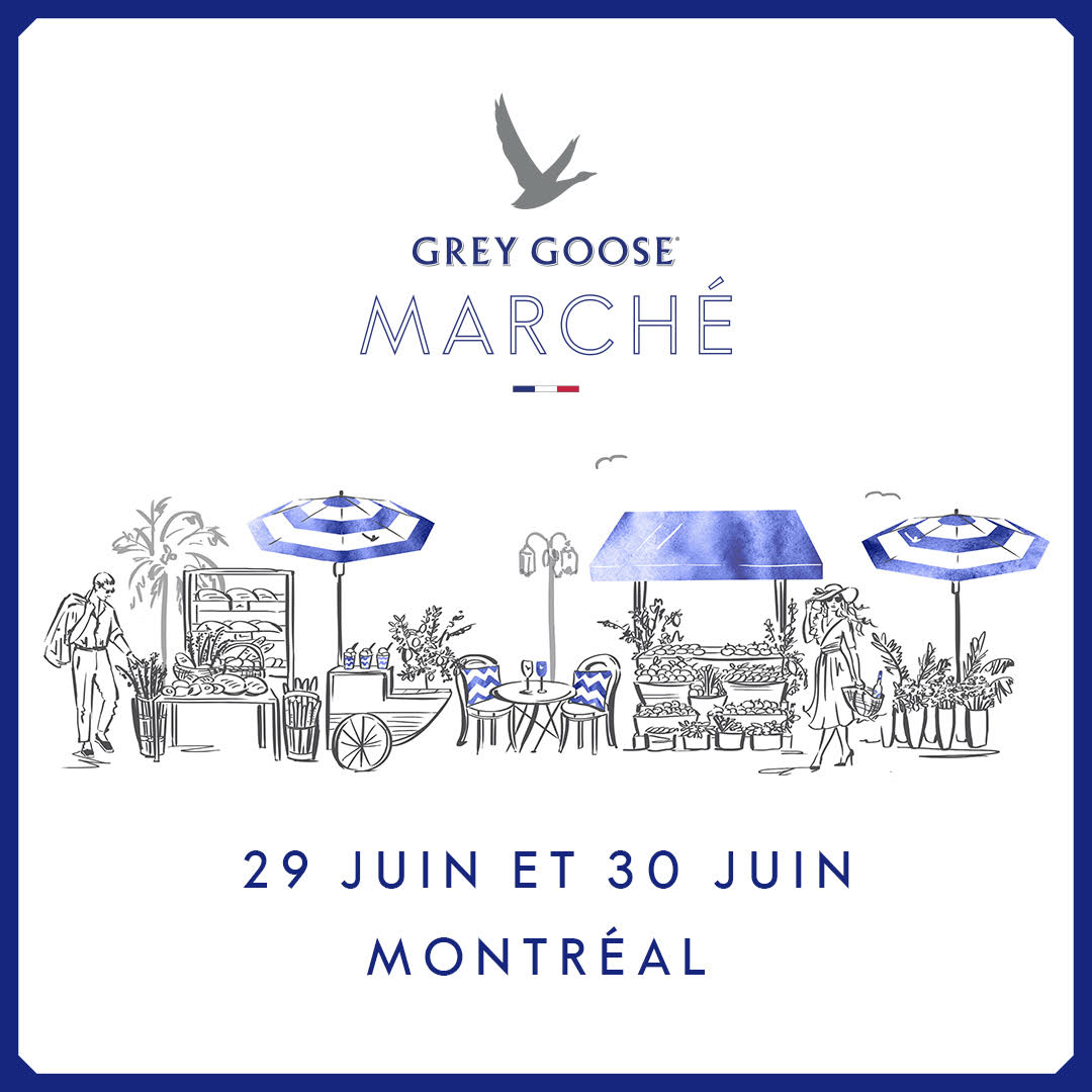 This summer, luxury vodka brand Grey Goose will debut the first-ever Côte d'Azur-inspired GREY GOOSE MARCHÉ, a two-day pop-up PUBLIC marché in Montreal on Friday, June 29th (from 2:00 – 4:30pm and 7:00 – 9:00pm) and Saturday June 30th (11:00 – 9:00pm) at the Museum of Contemporary Art's Garden Terrasse (185 rue Ste-Catherine West). This Cote D'Azur-inspired market will feature the finest quality ingredients, displayed and sold in partnership with premier Montreal vendors. At the marché, customers will be able to browse and buy seasonal fruit and vegetables, freshly-baked baguettes, premium cheeses, charcuterie, a coffee bar by Café Olimpico, French pastries from Duc de Lorraine, coffee from l'Alvéole, flavourful preserves from L'Étagère Gourmande, lush floral bouquets from L'Atelier Florale, mouth-watering sorbet from Bilboquet, as well as the Grey Goose Le Grand Fizz cocktail bar for guests to sip and savour and, much more! This will all set against a backdrop that could easily be plucked from the streets of Nice! Please note: Entrance to the marché is free but vendors will be selling their product.