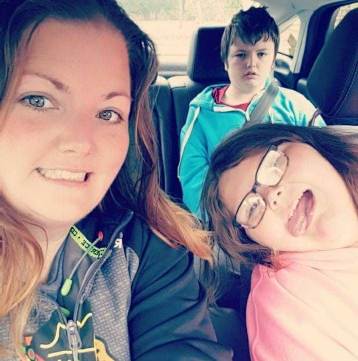 A Facebook post by Ashley Wright shows her (left), her son Logan (back right) and her daughter Brinlee (front right). Wright says that a man shouted at her son with autism on a trip to the Peterborough Zoo.