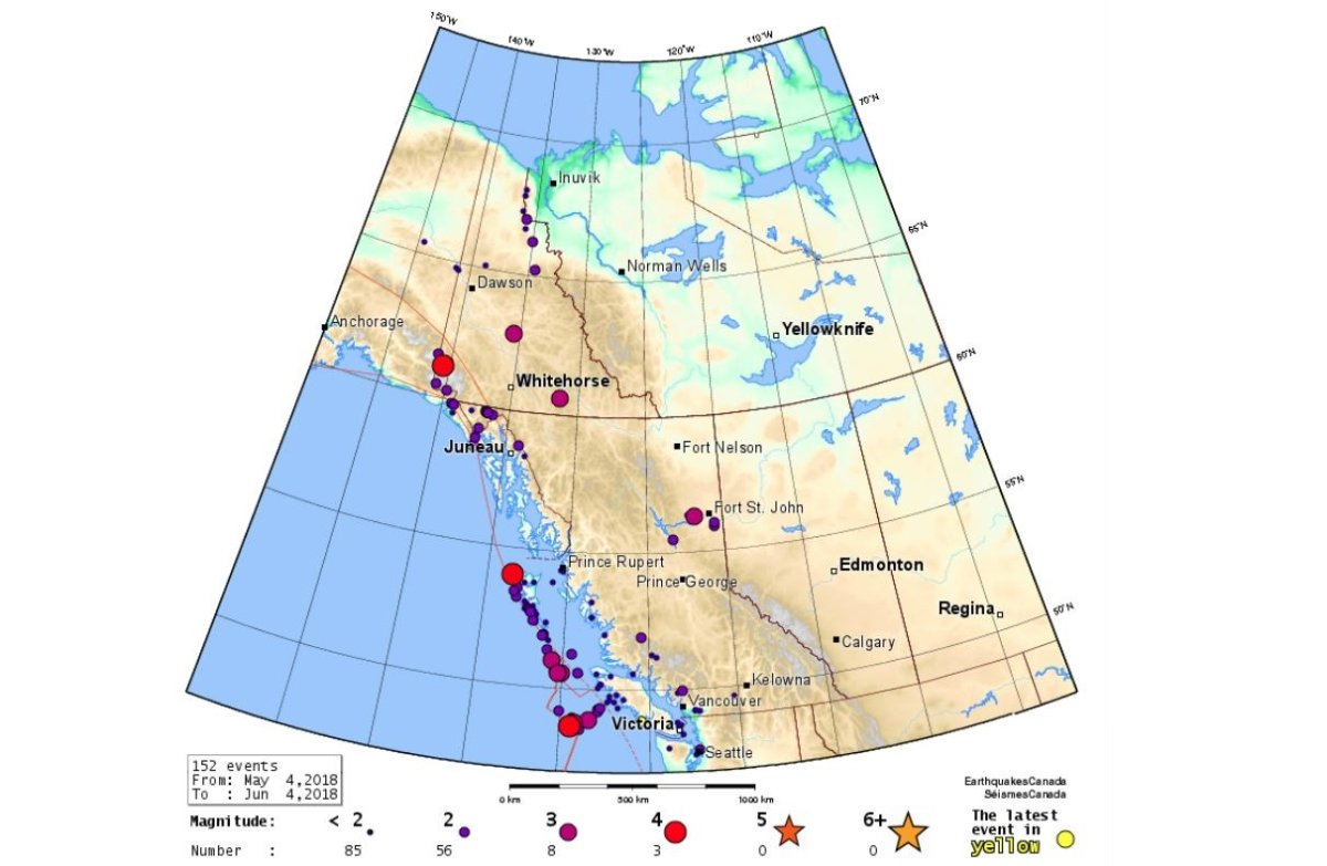 There have been 152 seismic events between May 4, 2018, and June 4, 2018, registered in Western Canada.