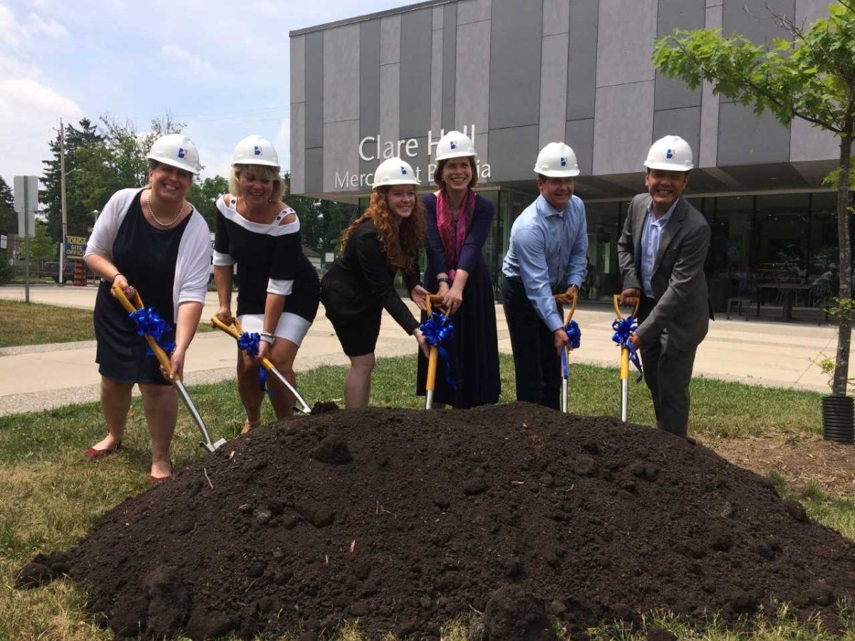 Associates and Faculty members of Brescia University College celebrate the ground-breaking ceremony of Academic Pavilion June 18.