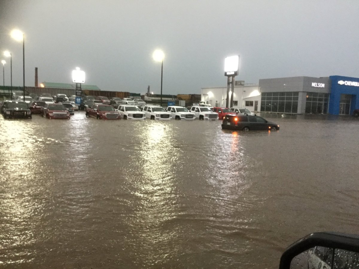 Localized flooding in Assiniboia, Sask after severe thunderstorms rolled through the region.